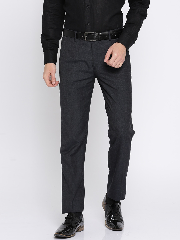 Peter England Men Navy Blue Slim Fit Self Design Formal Trousers image