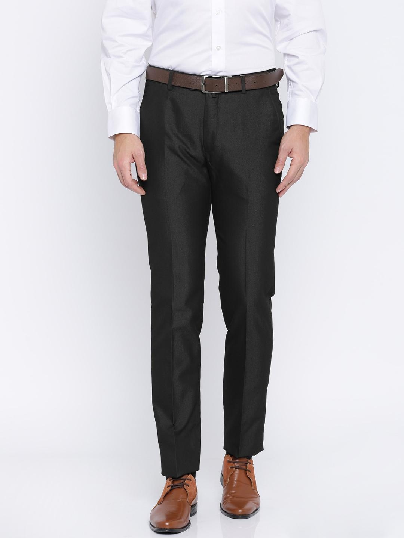 Peter England Men Black Slim Fit Self Design Formal Trousers image