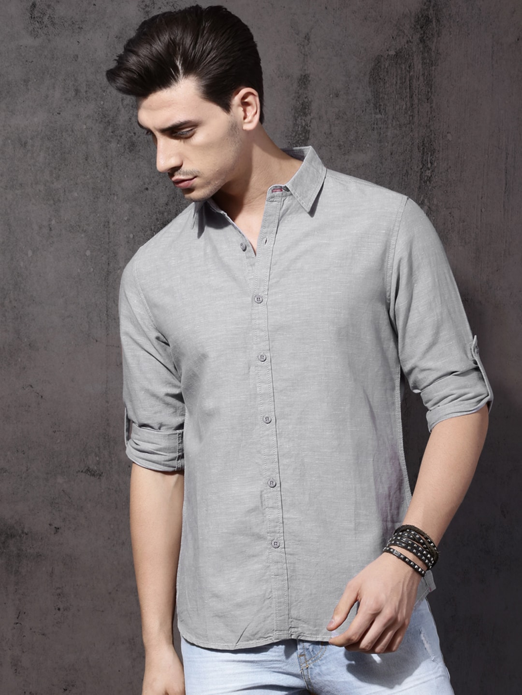 Buy Roadster Grey Regular Fit Solid Men's Casual Shirt At Best Price