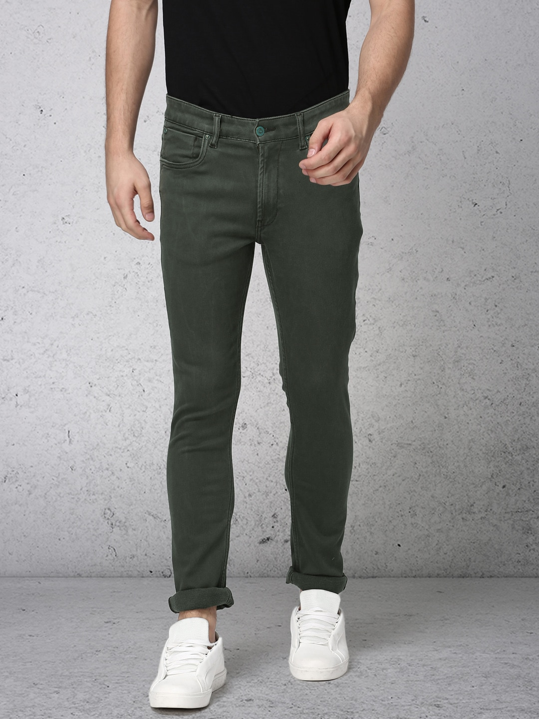 Ecko Unltd Men Olive Green Slim Fit Mid-Rise Clean Look Stretchable Jeans image
