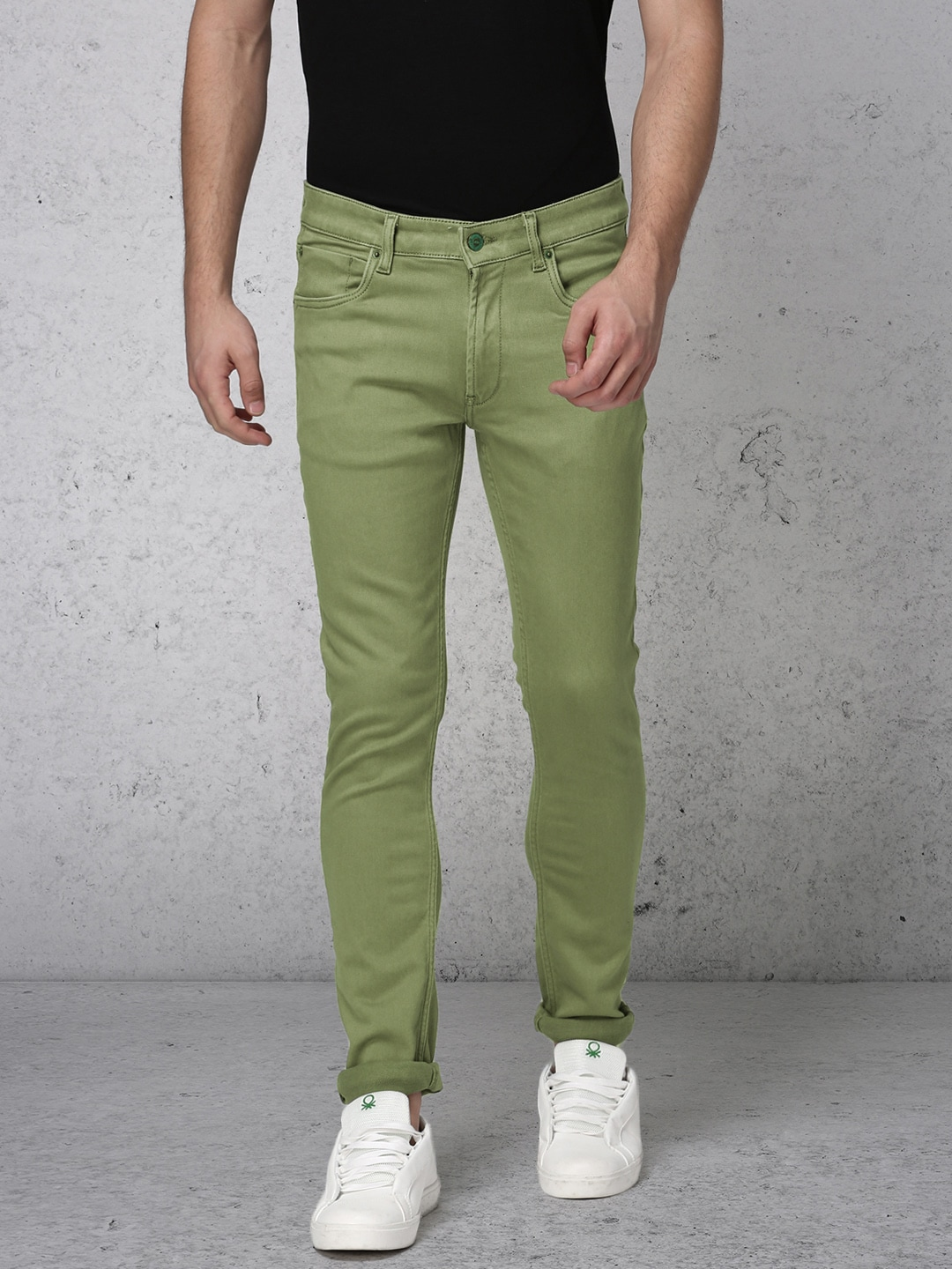 Ecko Unltd Men Olive Green Super Slim Fit Mid-Rise Clean Look Stretchable Jeans image