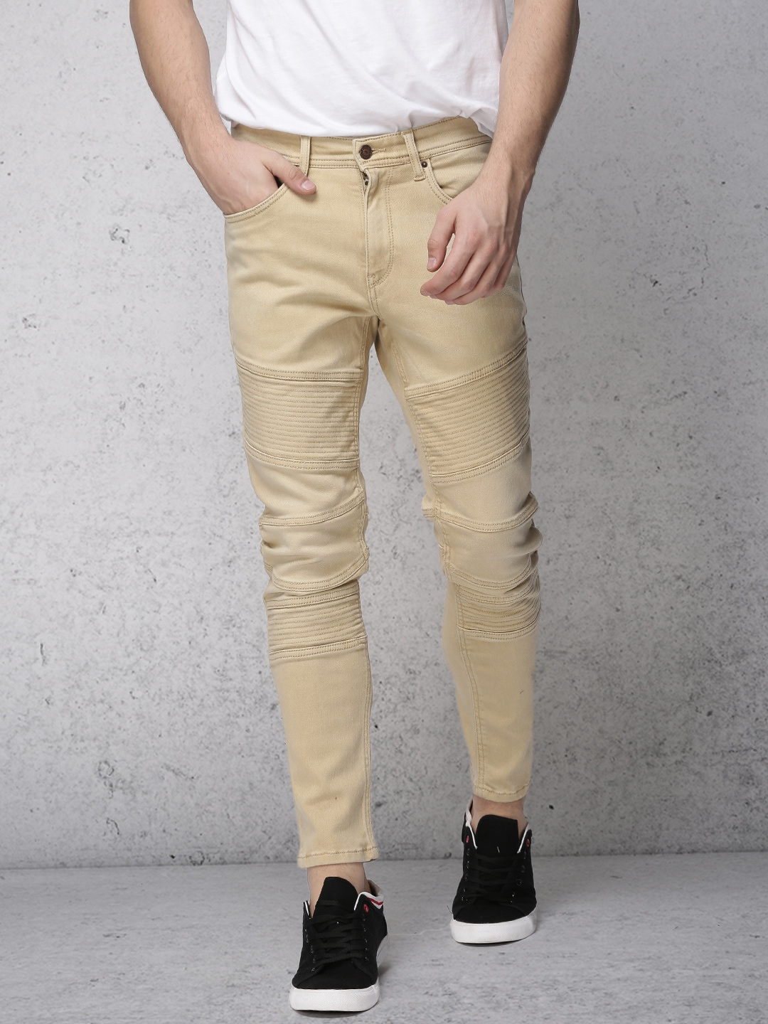 Ecko Unltd Men Beige Slim Tapered Fit Mid-Rise Clean Look Stretchable Jeans image