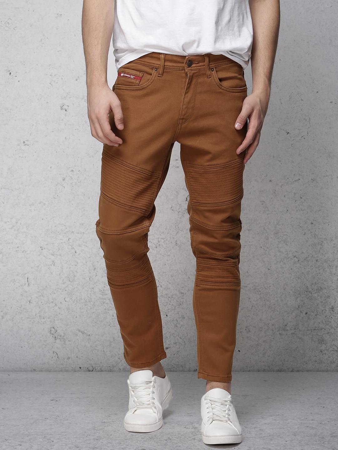 Ecko Unltd Men Rust Brown Slim Tapered Fit Mid-Rise Clean Look Stretchable Jeans image