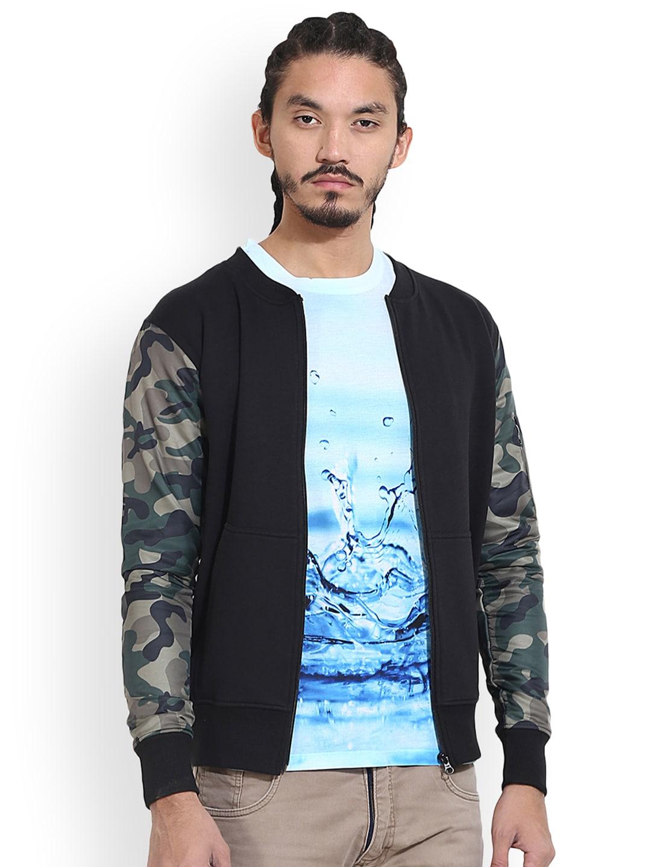 Wear Your Mind Men Black Printed Insulator Bomber Jacket image