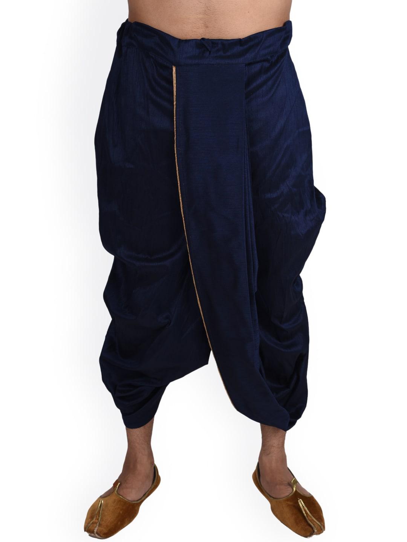 Deyann Men Navy Blue Silk Dhoti image