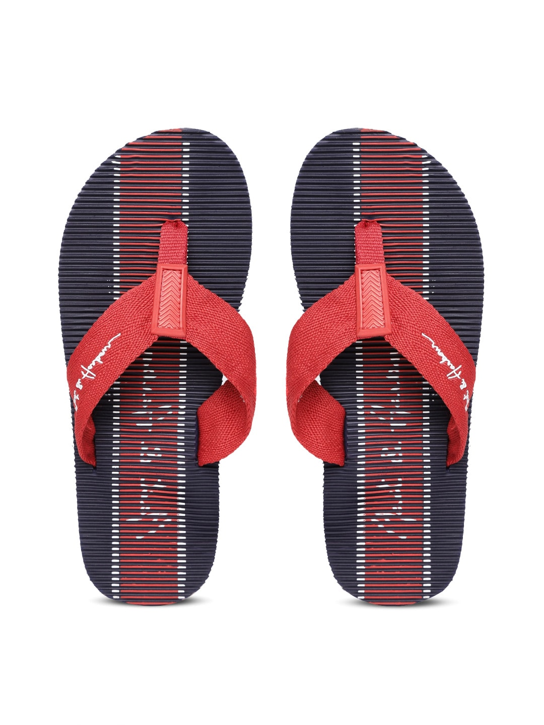 Mast & Harbour Men Red & Navy Blue Striped Thong Flip-Flops image