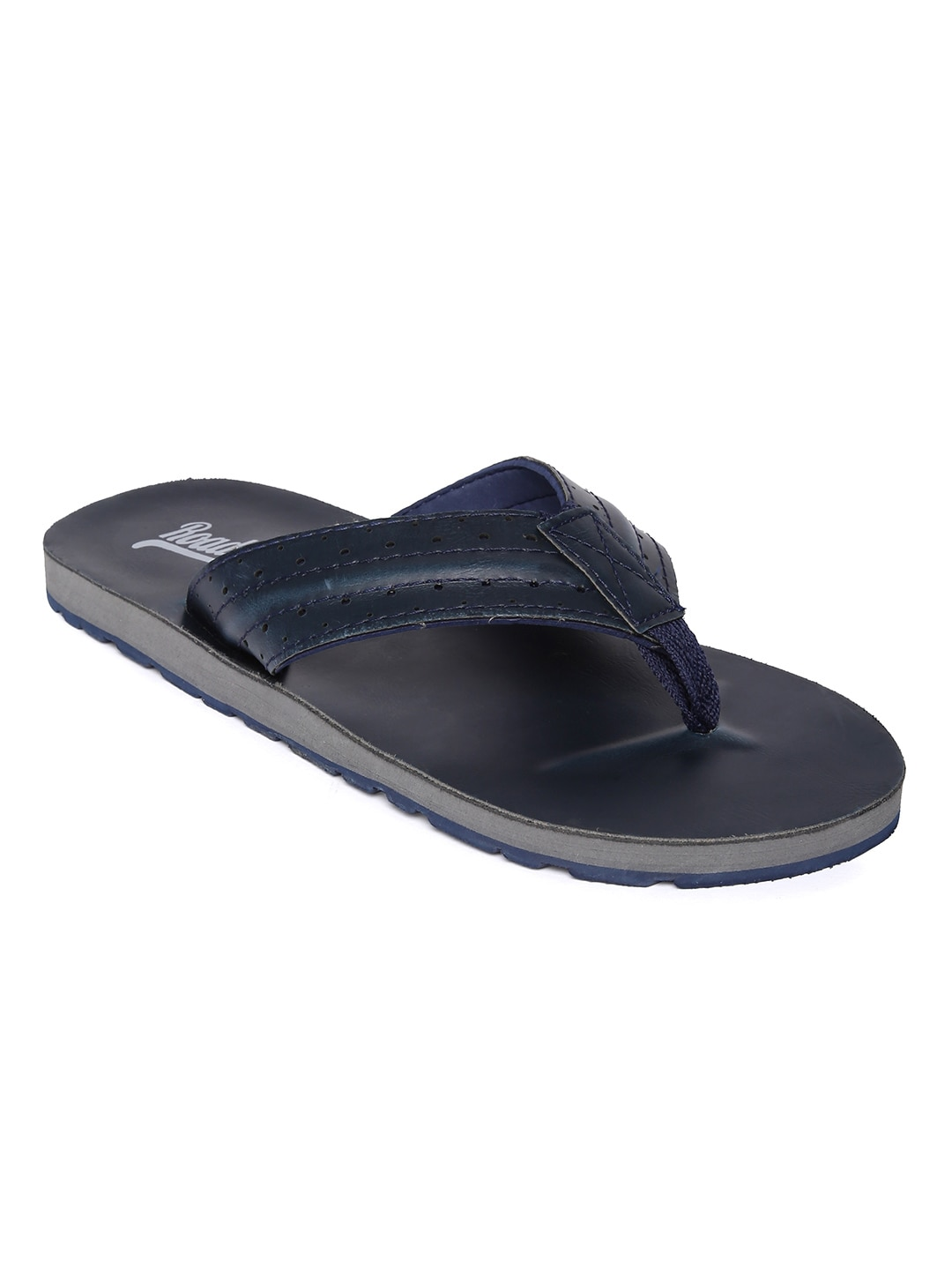 Roadster Men Navy Blue Self Design Thong Flip-Flops image