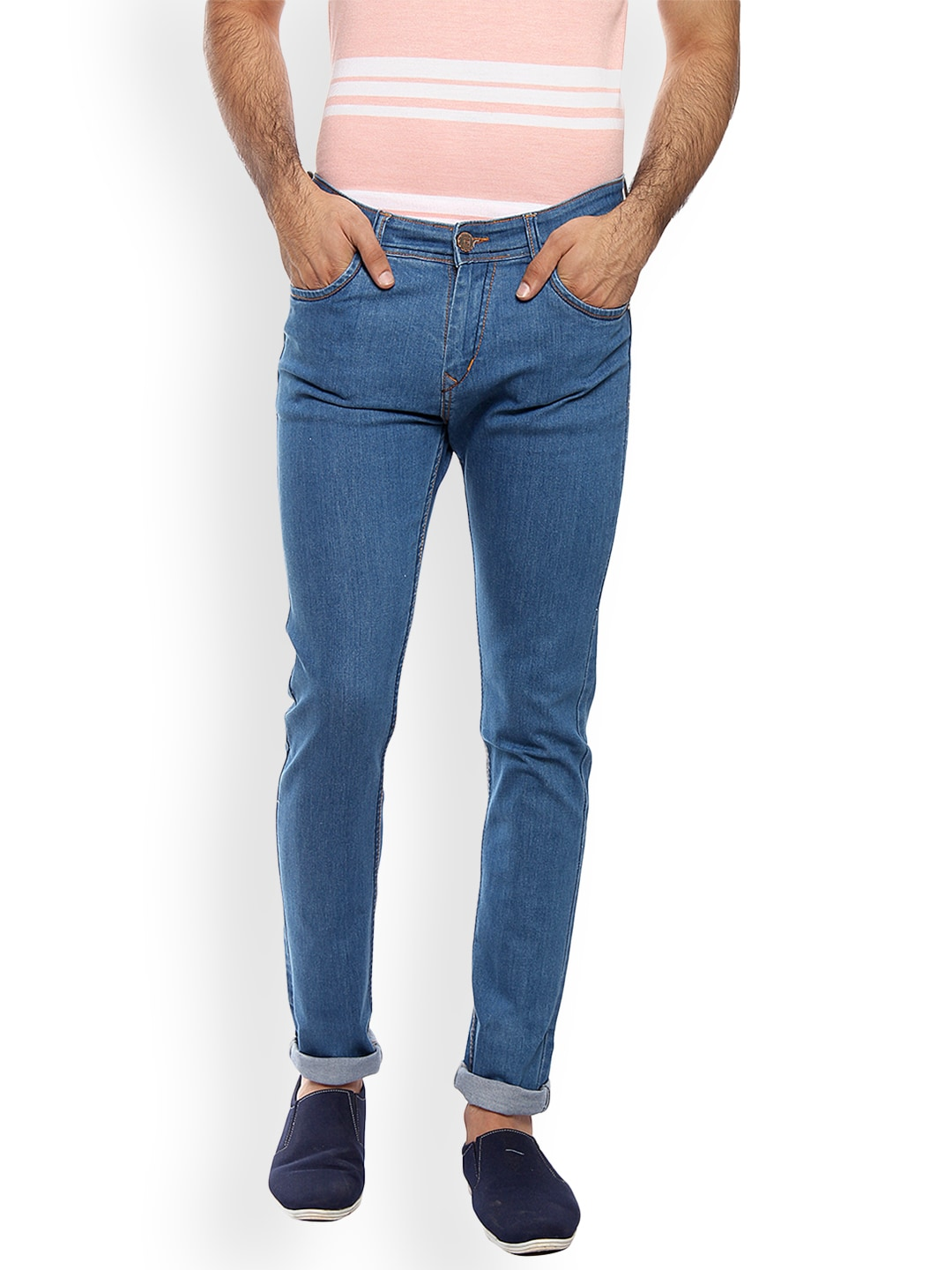 FEVER Men Blue Slim Fit Mid-Rise Clean Look Stretchable Jeans image