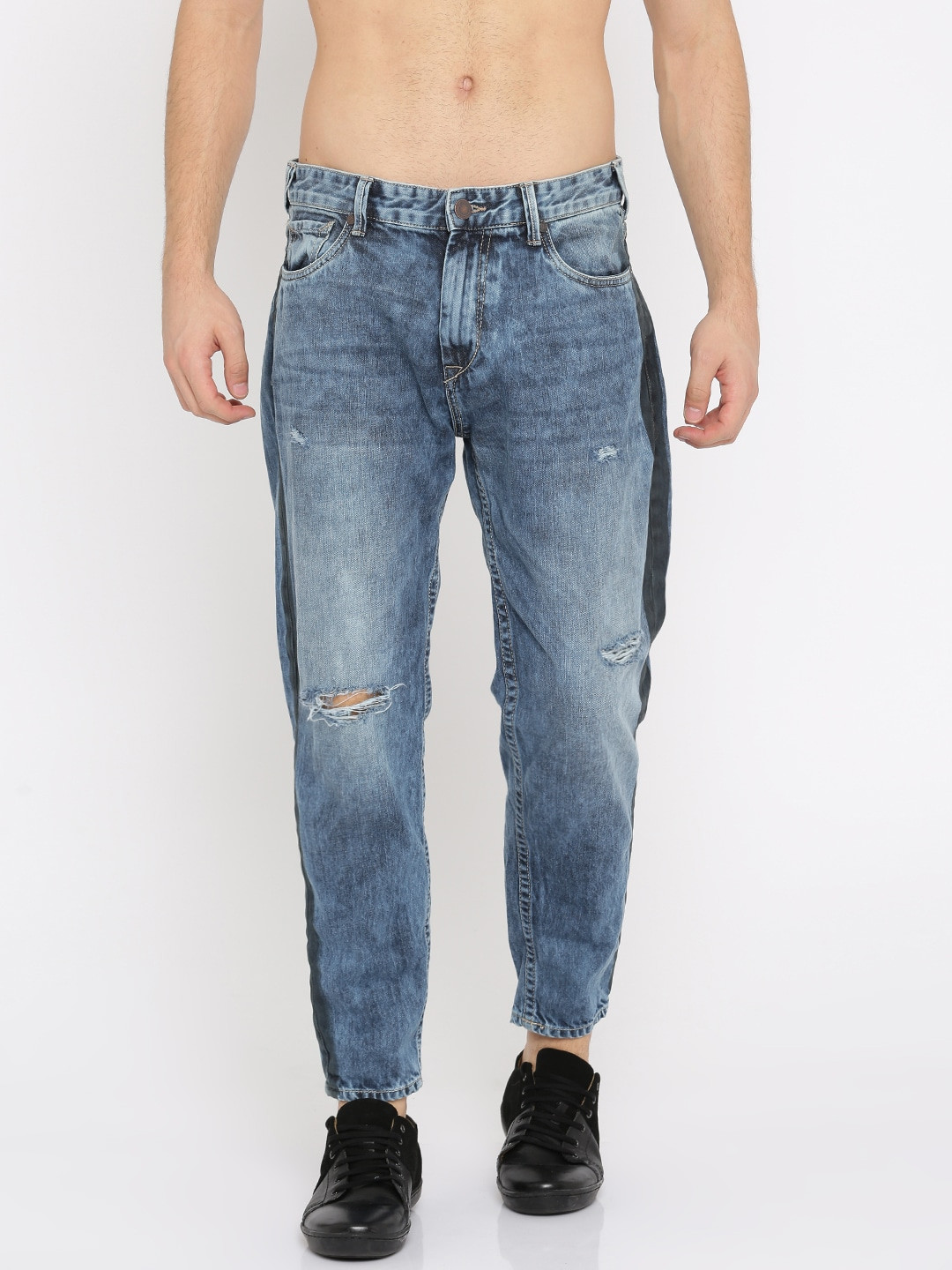 Moda Rapido Men Blue Slim Tapered Fit Mid-Rise Mildly Distressed Ankle-Length Jeans image