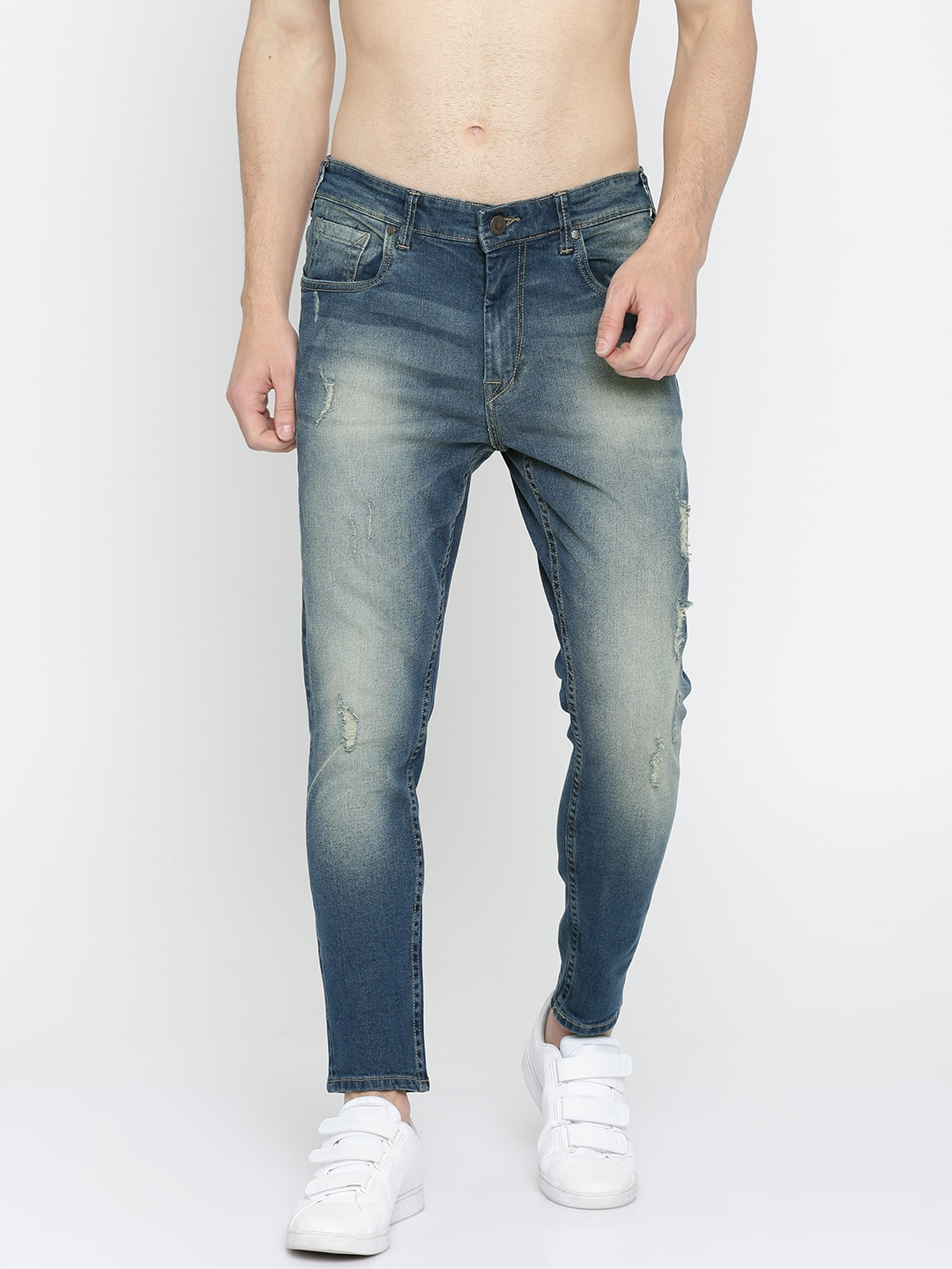 HERE&NOW Men Blue Tapered Fit Mid-Rise Mildly Distressed Stretchable Jeans image