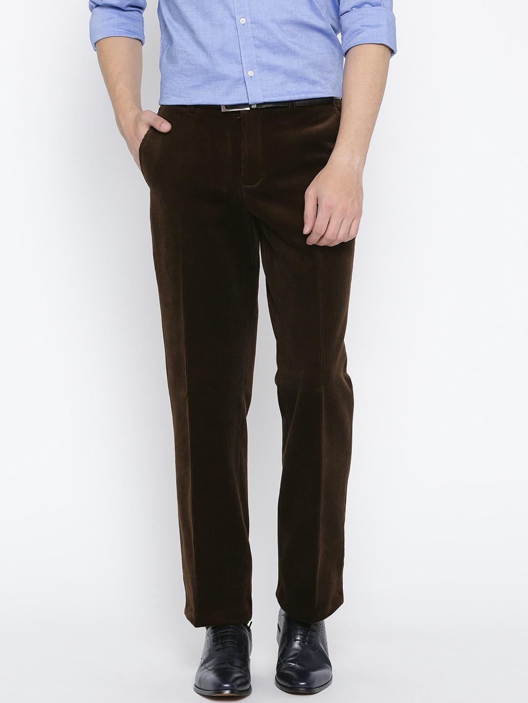 Blackberrys Men Coffee Brown Regular Fit Solid Corduroy Semiformal Trousers image