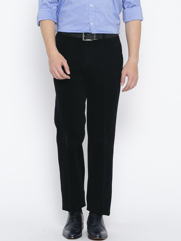 Blackberrys Men Navy Blue Regular Fit Solid Corduroy Semiformal Trousers image