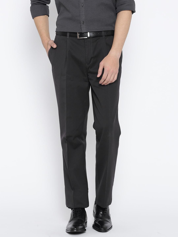 Blackberrys Men Charcoal Grey Sharp Fit Solid Formal Trousers image