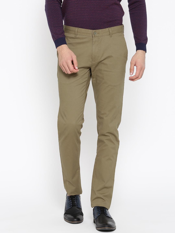 Blackberrys Men Olive Green Sharp Regular Fit Solid Regular Trousers image