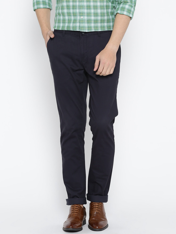 Blackberrys Men Navy Blue Sharp Fit Solid Regular Trousers image