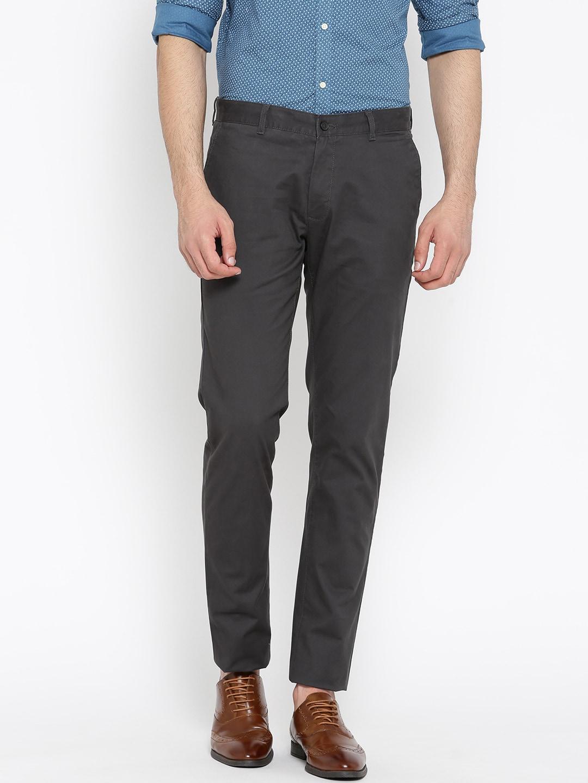 Blackberrys Men Charcoal Grey Sharp Regular Fit Solid Chinos image