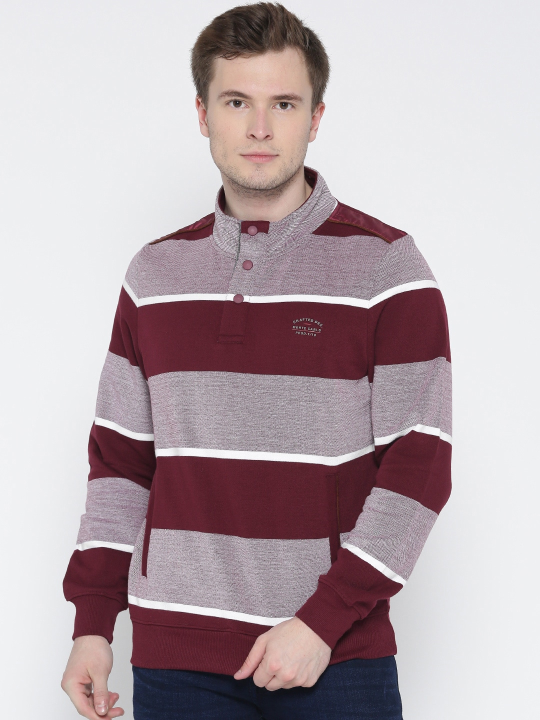 Monte Carlo Men Maroon & Grey Striped Sweatshirt image
