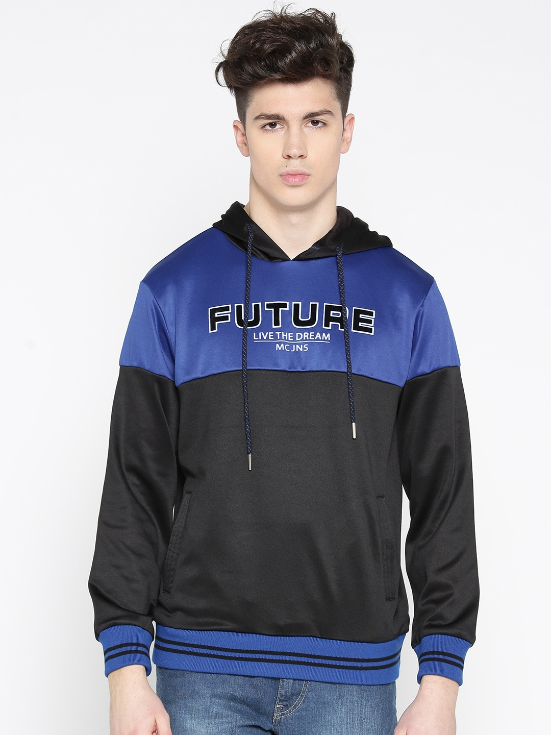 Monte Carlo Men Black & Blue Colourblocked Hooded Sweatshirt image