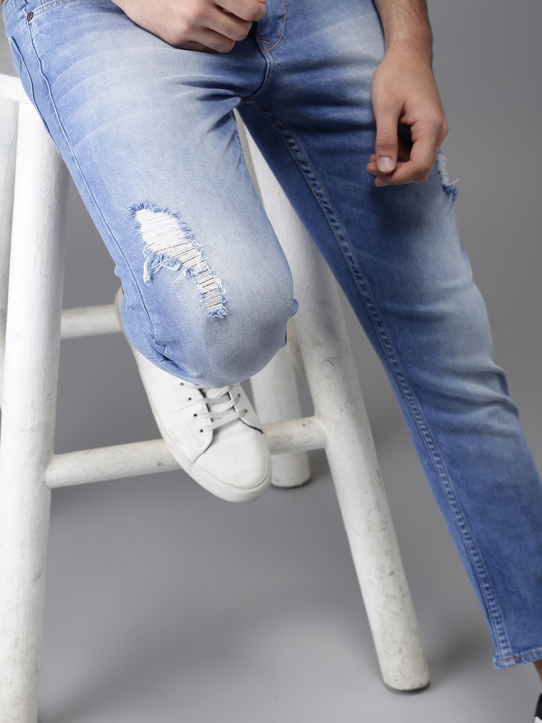 Buy HERE&NOW Blue Slim Tapered Fit Mid-Rise Low Distress Stretchable Ankle-Length Men's Jeans At Best Price