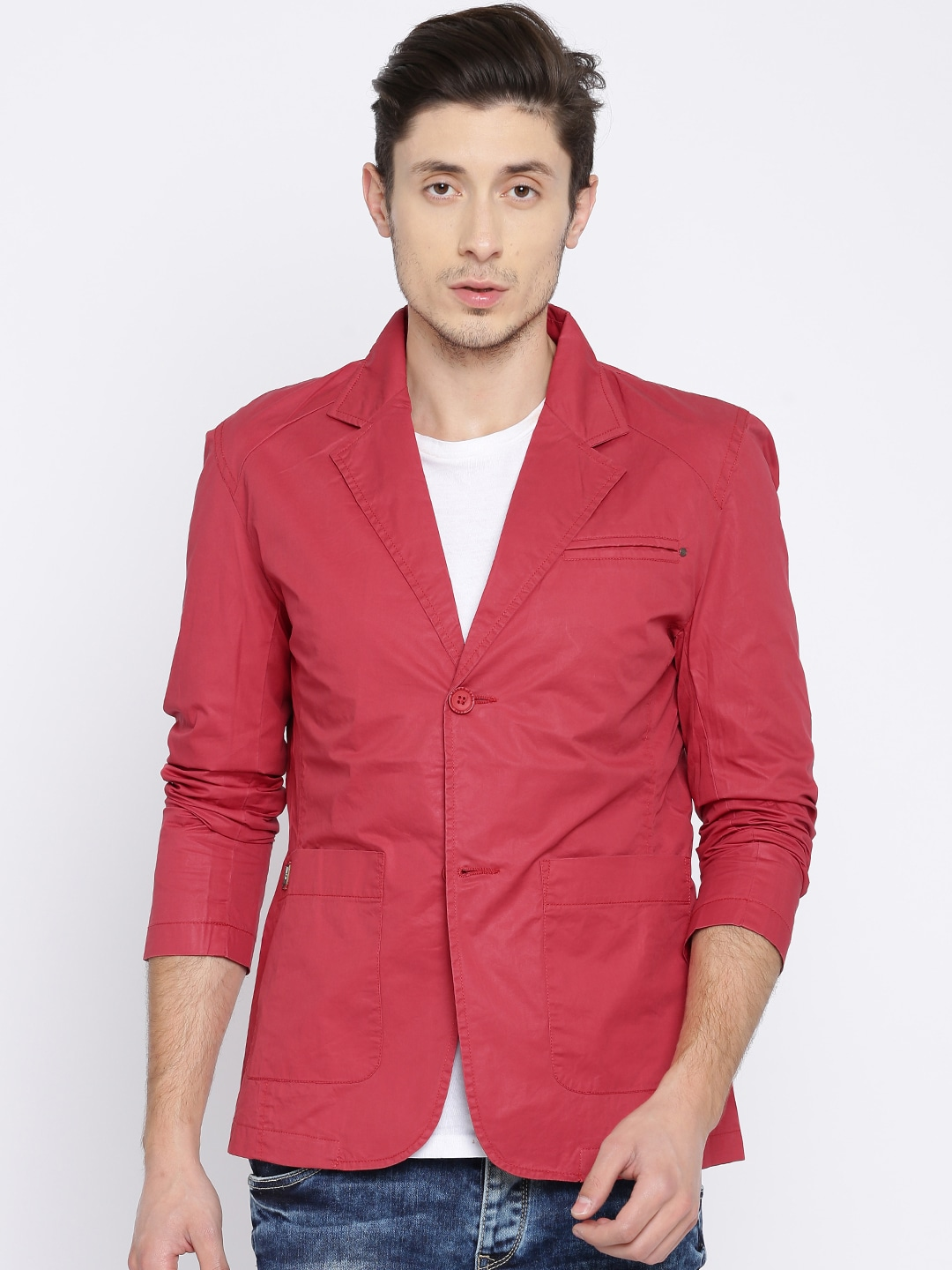 SPYKAR Men Red Solid Single-Breasted Casual Blazer image