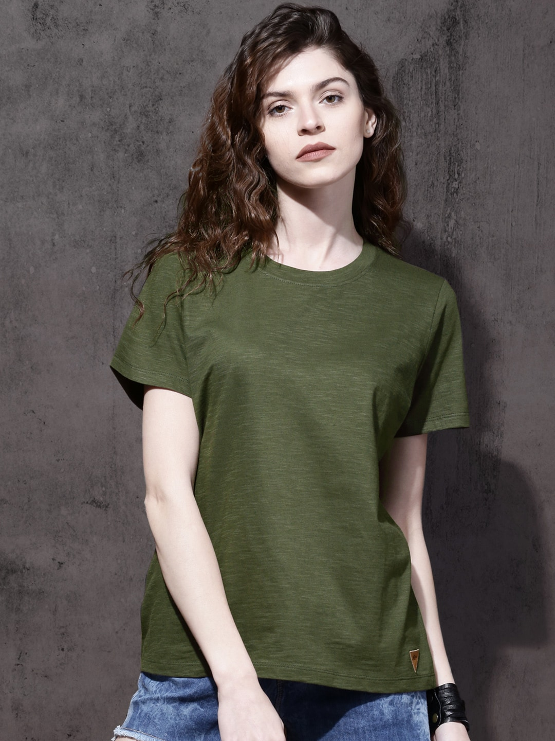 Roadster Olive Green Women T-shirt