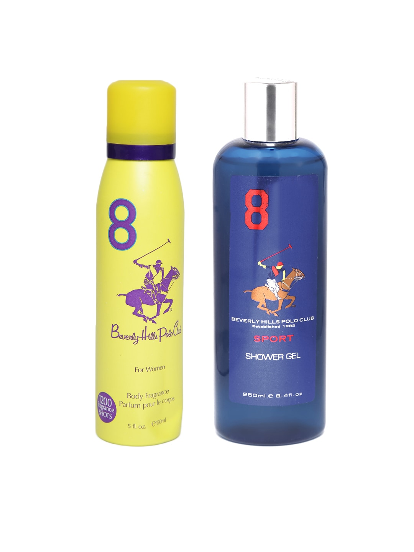 Beverly Hills Polo Club Sport Men Shower Gel 8 & Polo Club Women 8 Deodorant Combo image