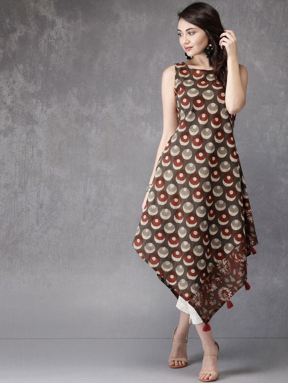 Anouk Women Grey & Maroon Printed A-Line Kurta Price in India