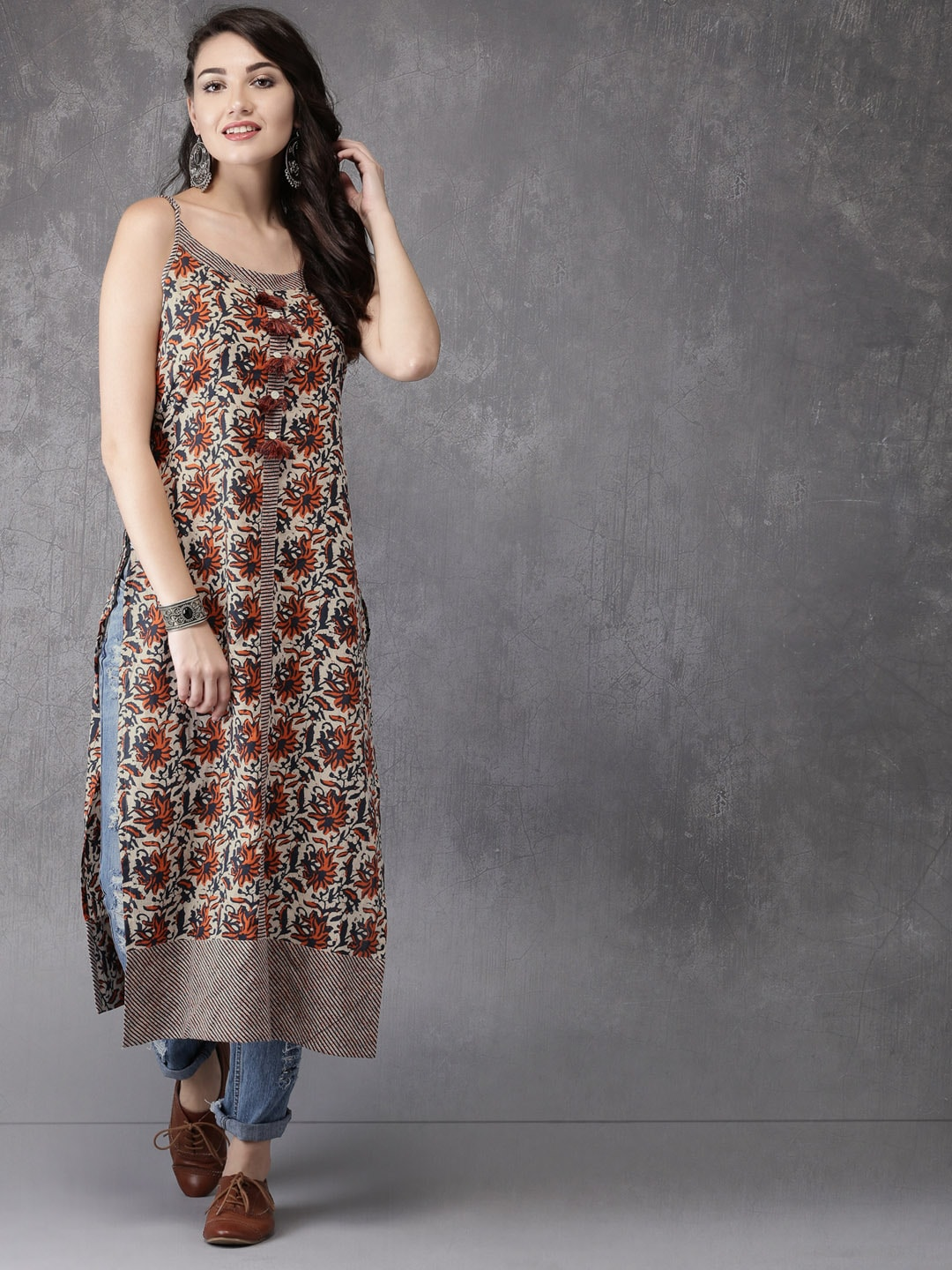 Anouk Women Off-White & Navy Printed A-Line Kurta Price in India