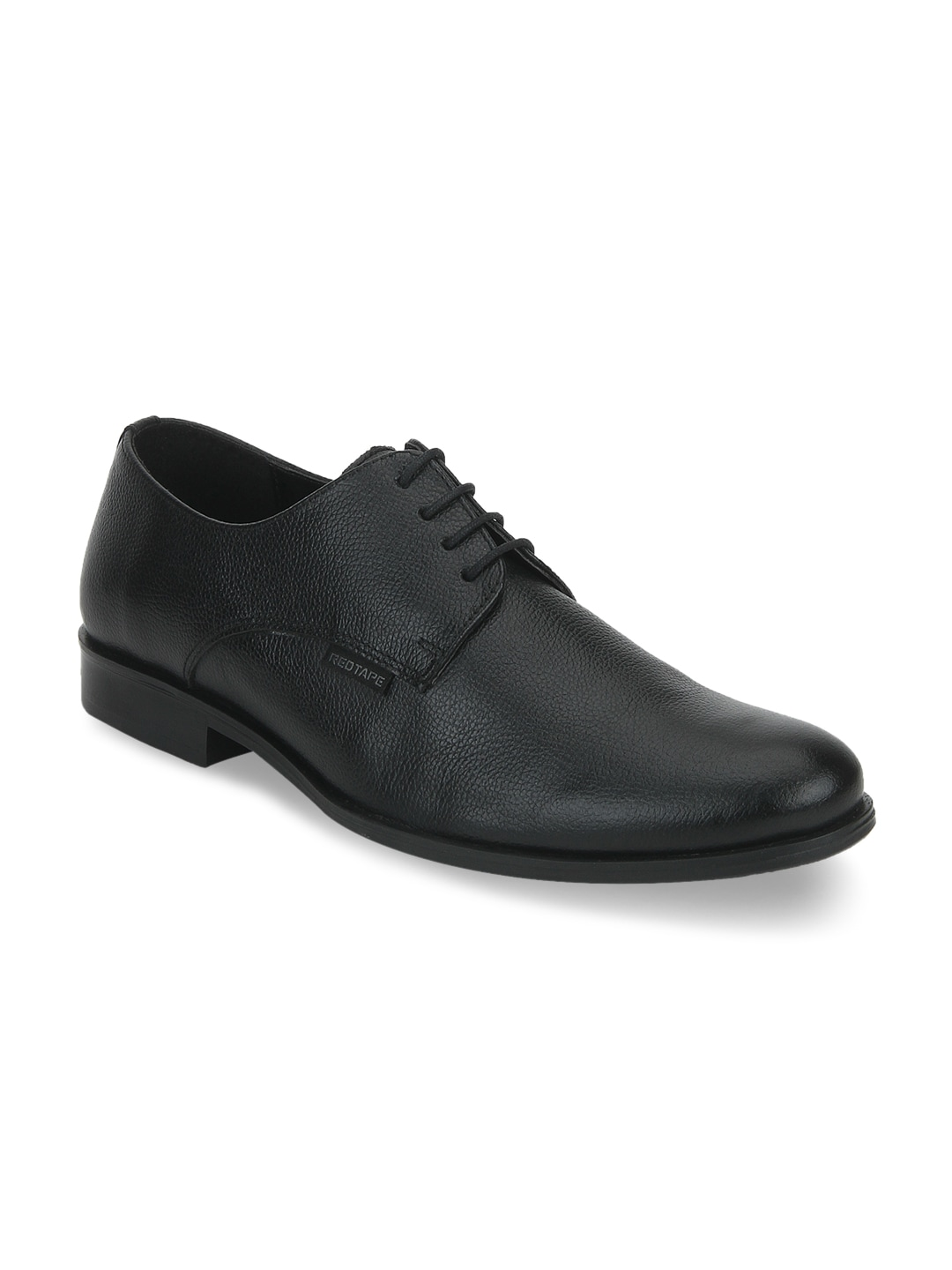 Buy Red Tape Black Textured Leather Derby's Shoes At Best Price