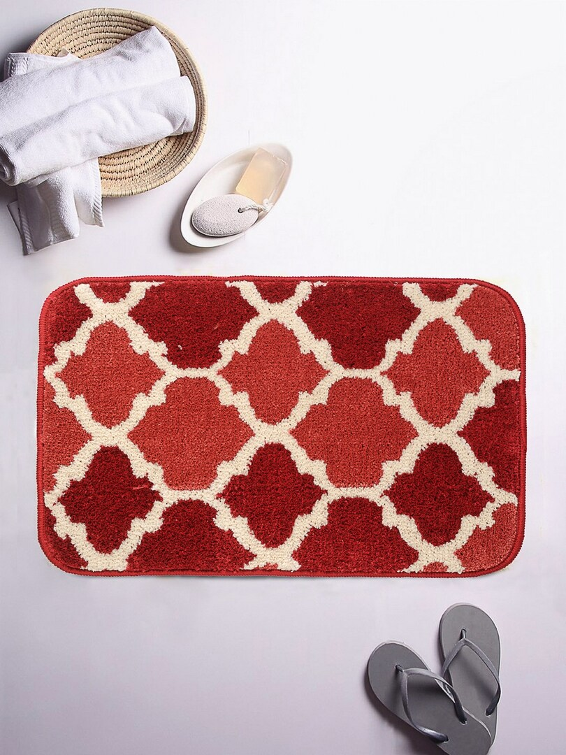 ROMEE Orange/Red Printed Rectangular Patterned Bath Rug image