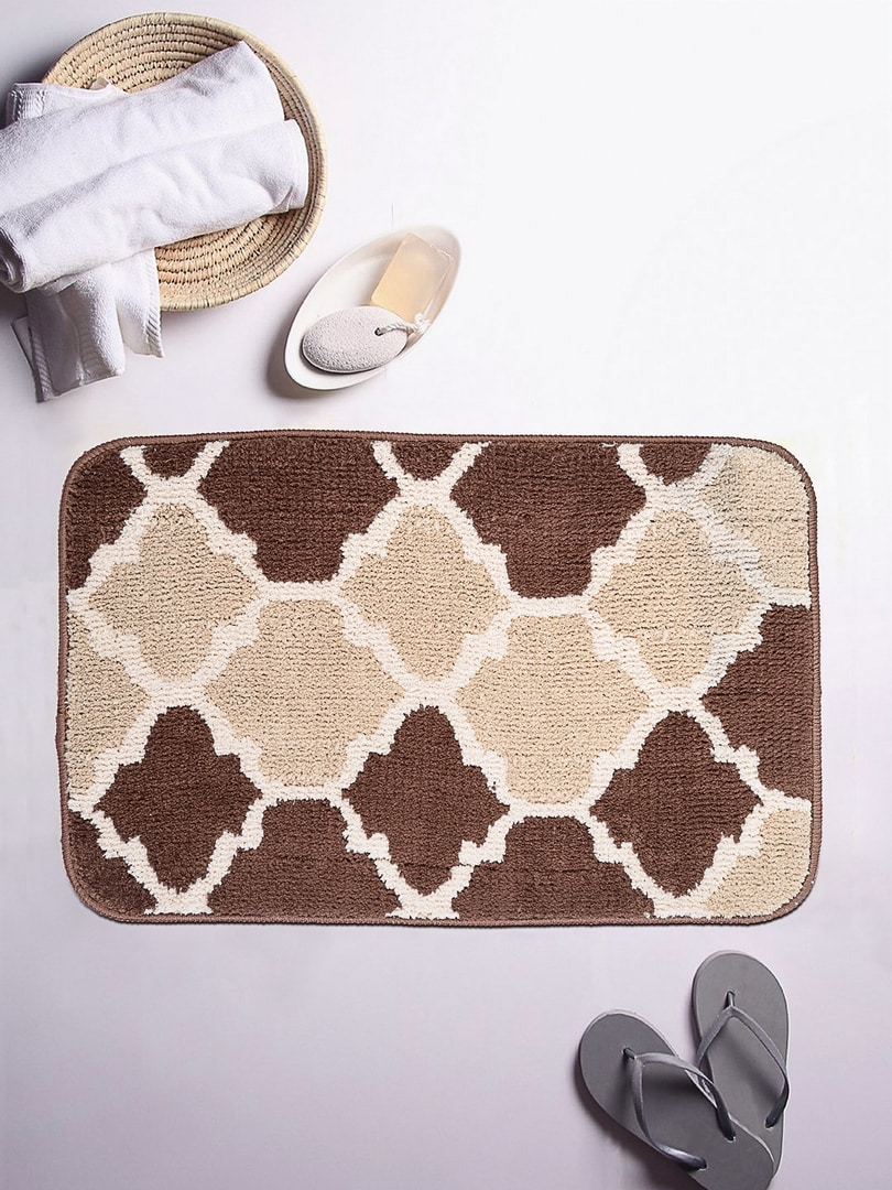 ROMEE Brown/Beige Patterned Rectangular Printed Bath Rug image