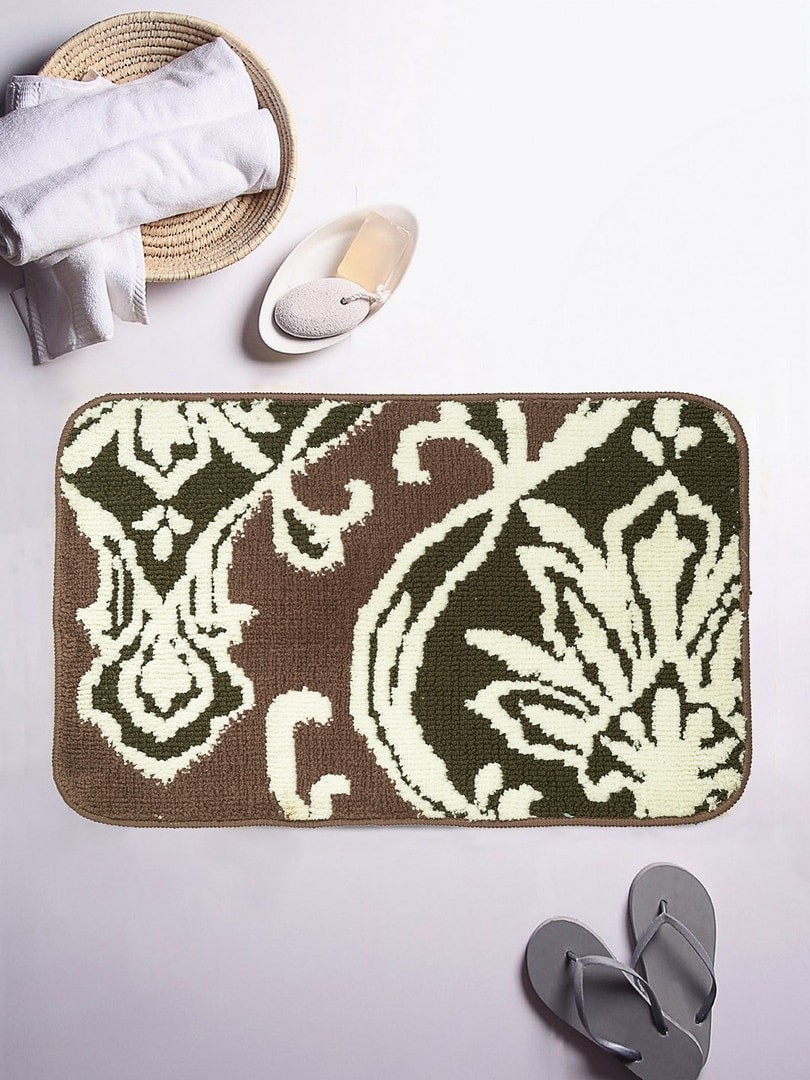 ROMEE Green & Brown Patterned Rectangular Bath Rug image