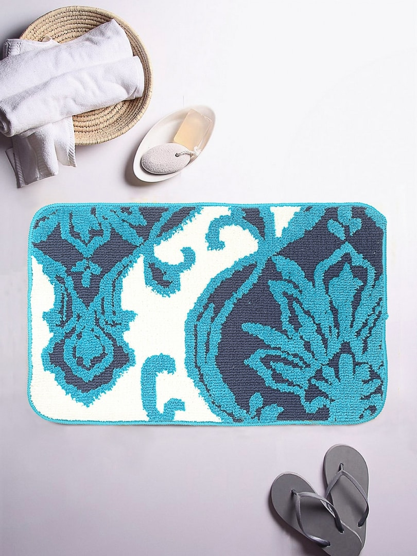 ROMEE Turquoise Blue & White Patterned Rectangular Bath Rug image
