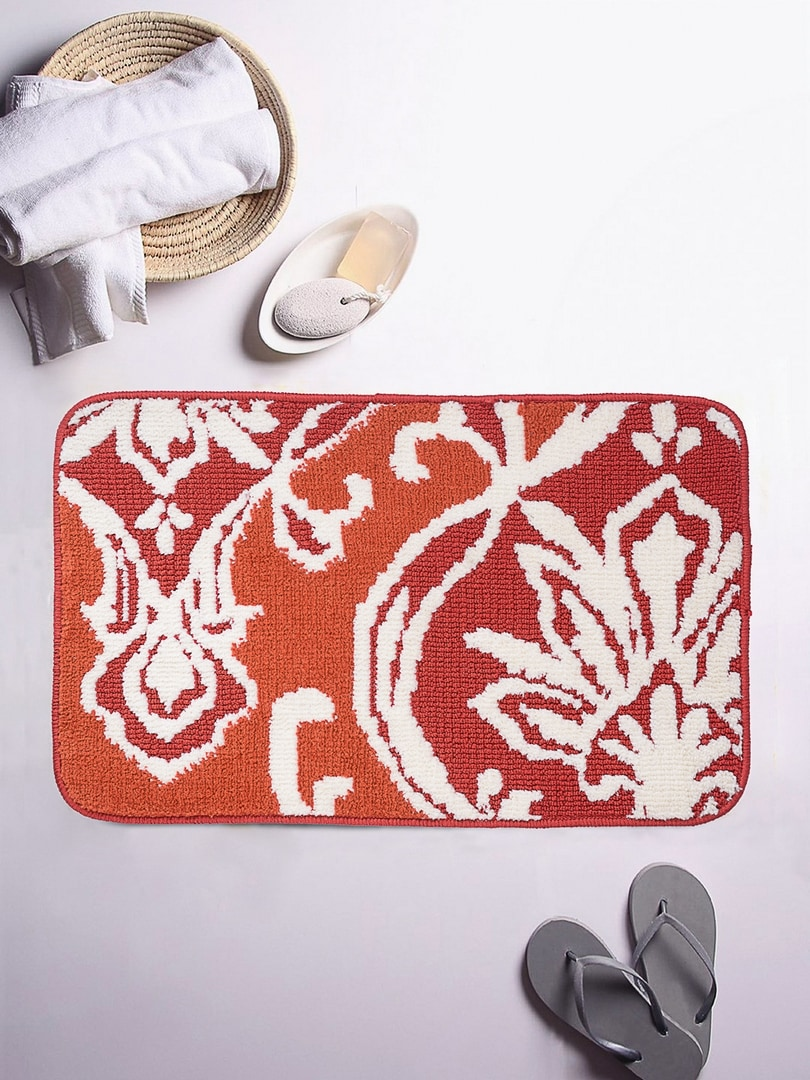 ROMEE Orange and Red Floral Rectangular Patterned Bath Rug image
