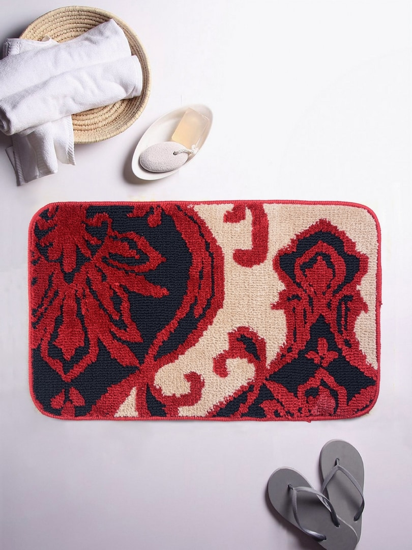 ROMEE Off White/Red Ethnic Rectangular Patterned Bath Rug image
