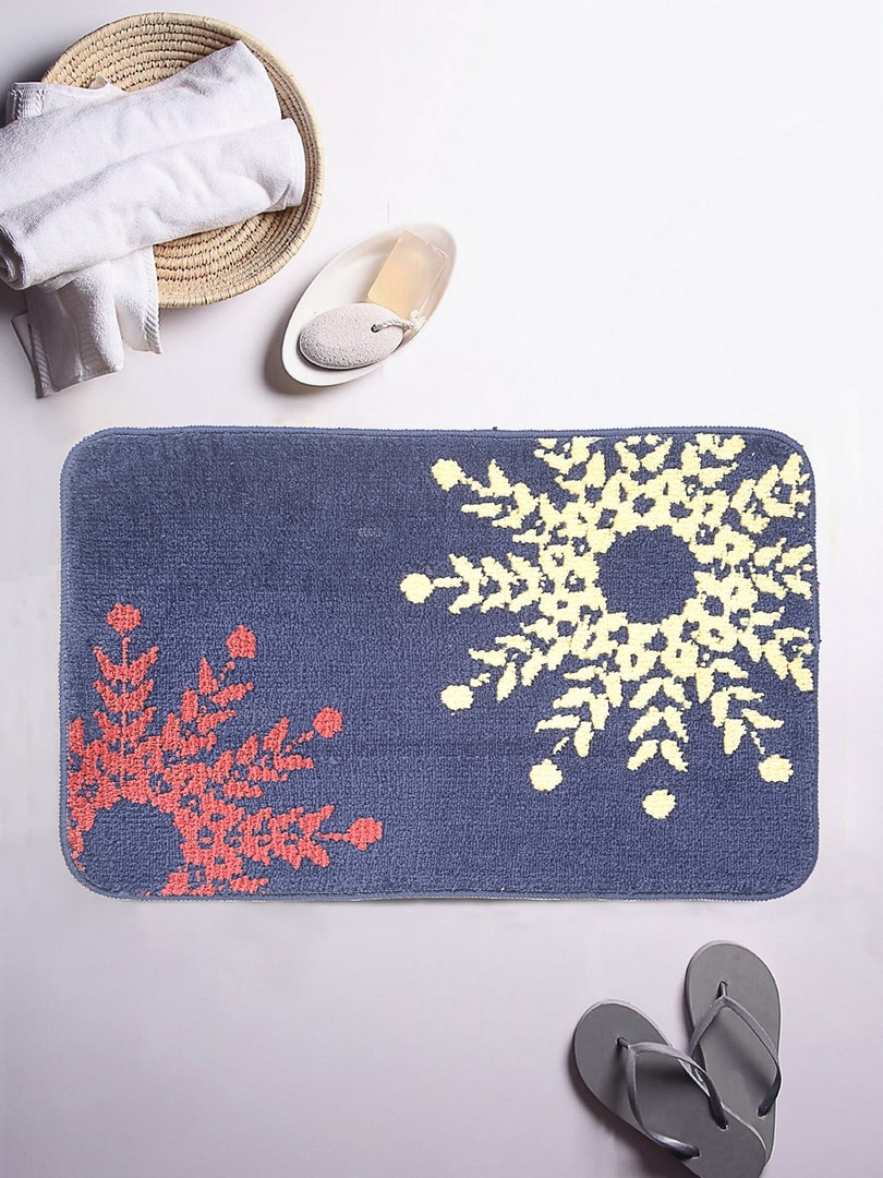 ROMEE Blue Ethnic  Rectangular Patterned Bath Rug image