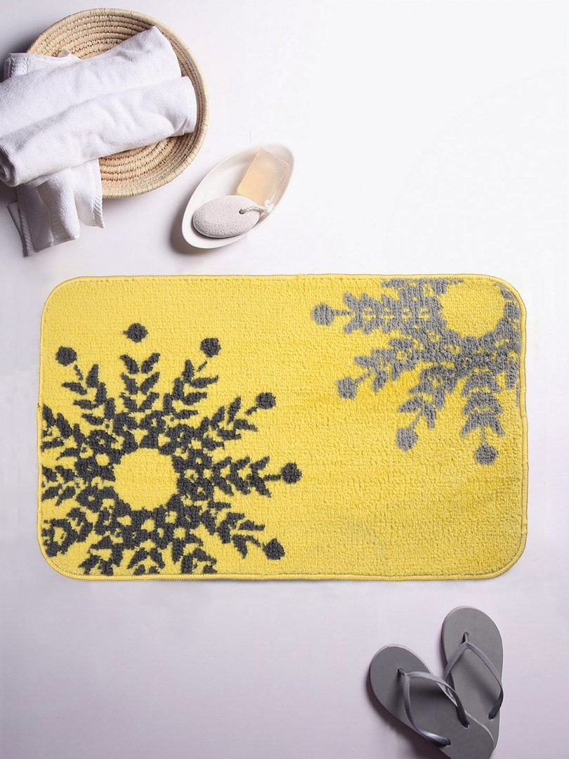 ROMEE Yellow Ethnic Rectangular Patterned Bath Rug image