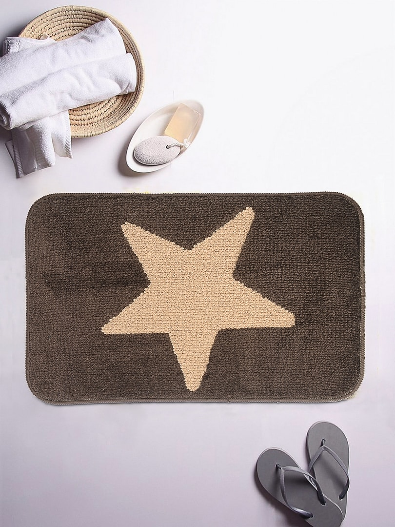 ROMEE Brown & Beige Patterned Rectangular Bath Rug image