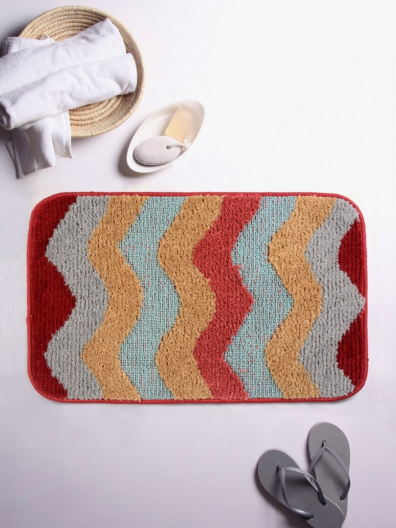 ROMEE Multicolour Patterned Rectangular Bath Rug image
