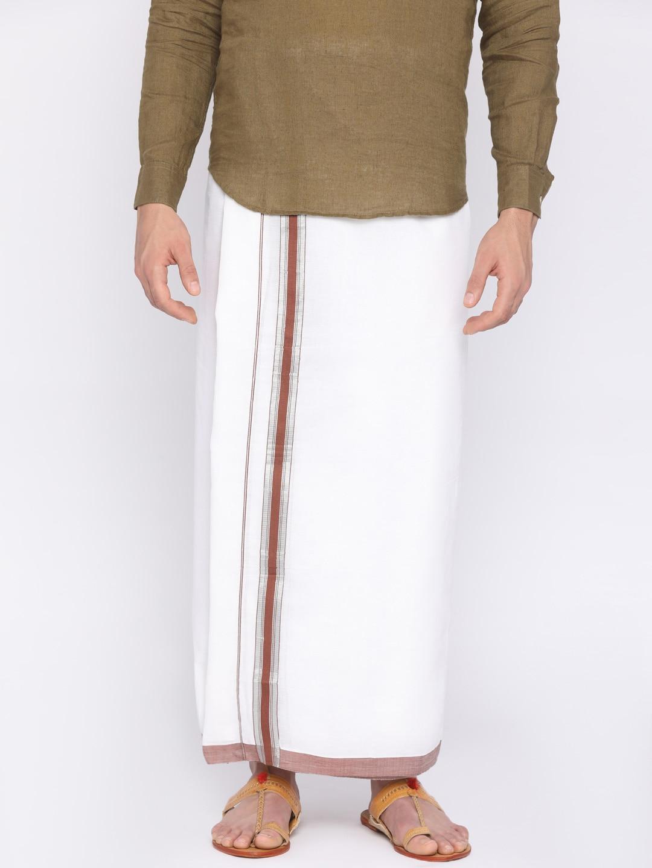 Darpanas Fashions White Solid Readymade Dhoti image