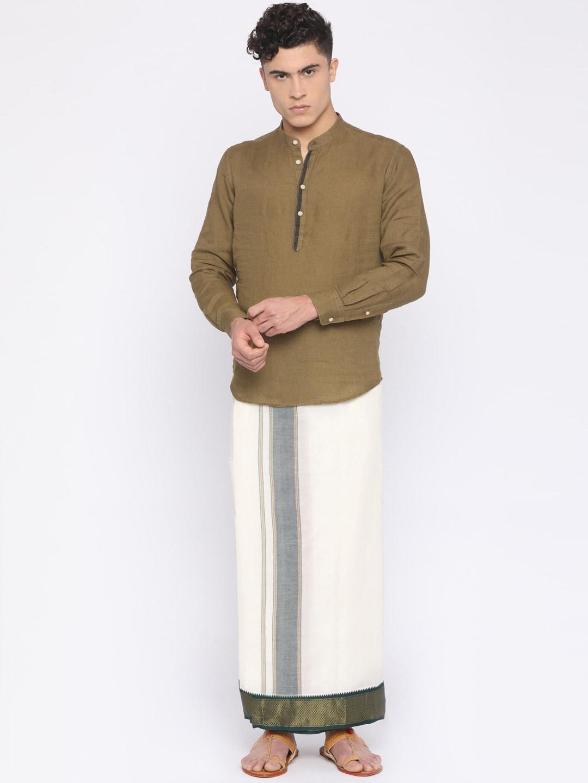 Darpanas Fashions Cream Solid Readymade Dhoti image