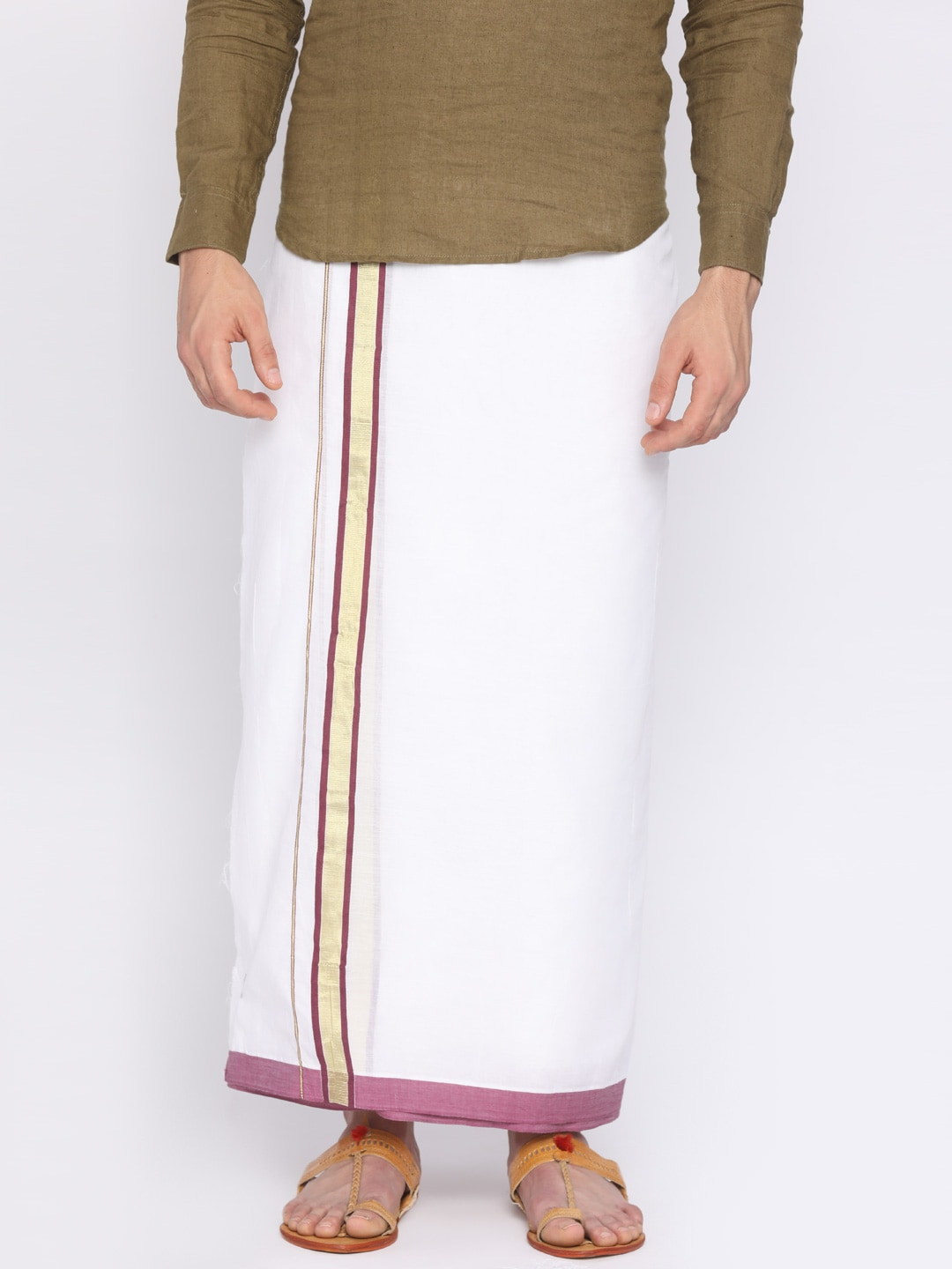 Darpanas Fashions Cream-Coloured Solid Readymade Dhoti image