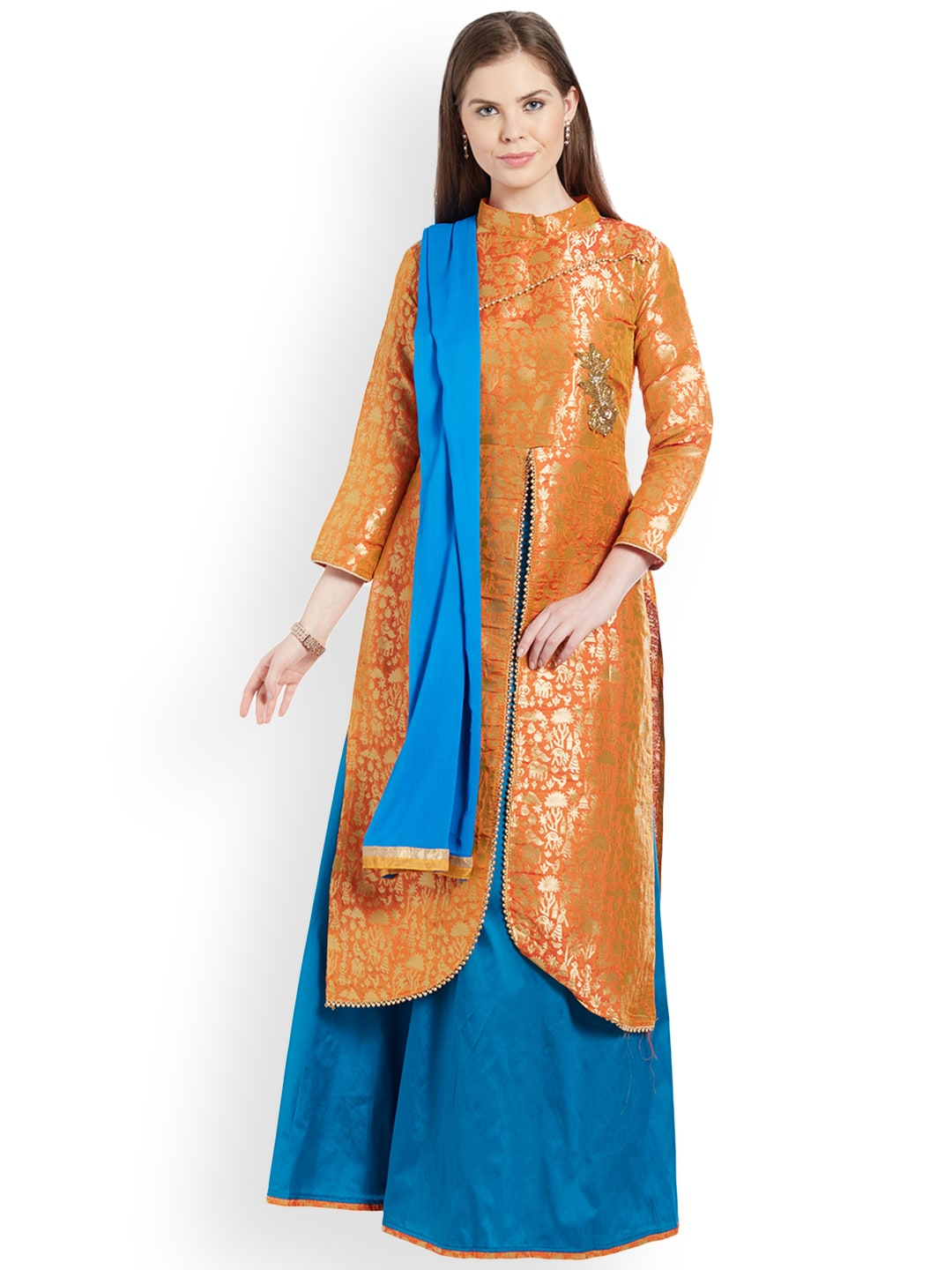 Viva N Diva Orange & Turquoise Blue Woven Design Semi-Stitched Lehenga & Blouse with Dupatta image