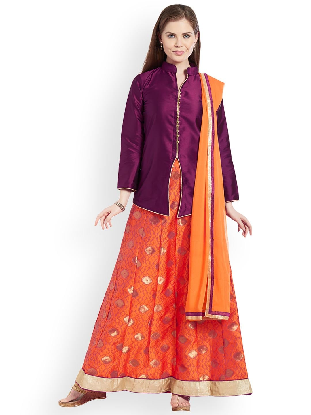 Viva N Diva Purple & Orange Solid Semi-Stitched Lehenga & Blouse with Dupatta image