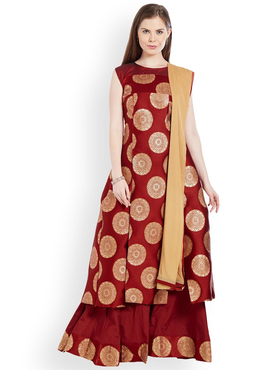 Viva N Diva Maroon & Beige Woven Design Ready to Wear Lehenga & Semi-Stitched Blouse with Dupatta image