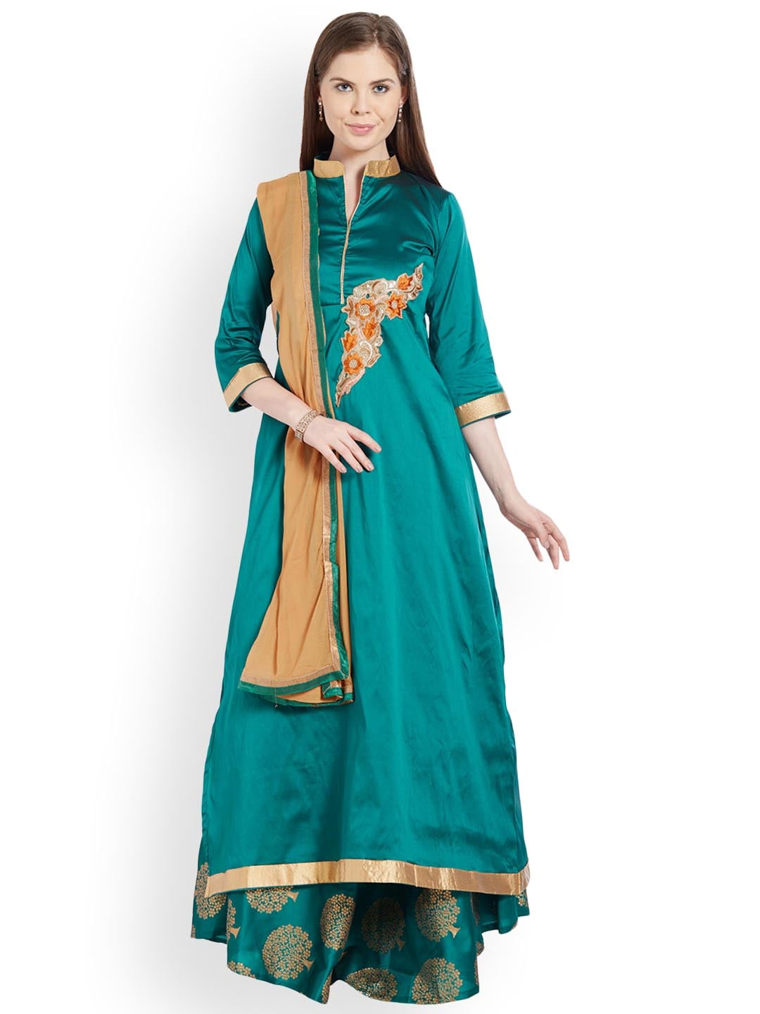 Viva N Diva Green & Beige Embroidered Ready to Wear Lehenga & Semi-Stitched Blouse with Dupatta image