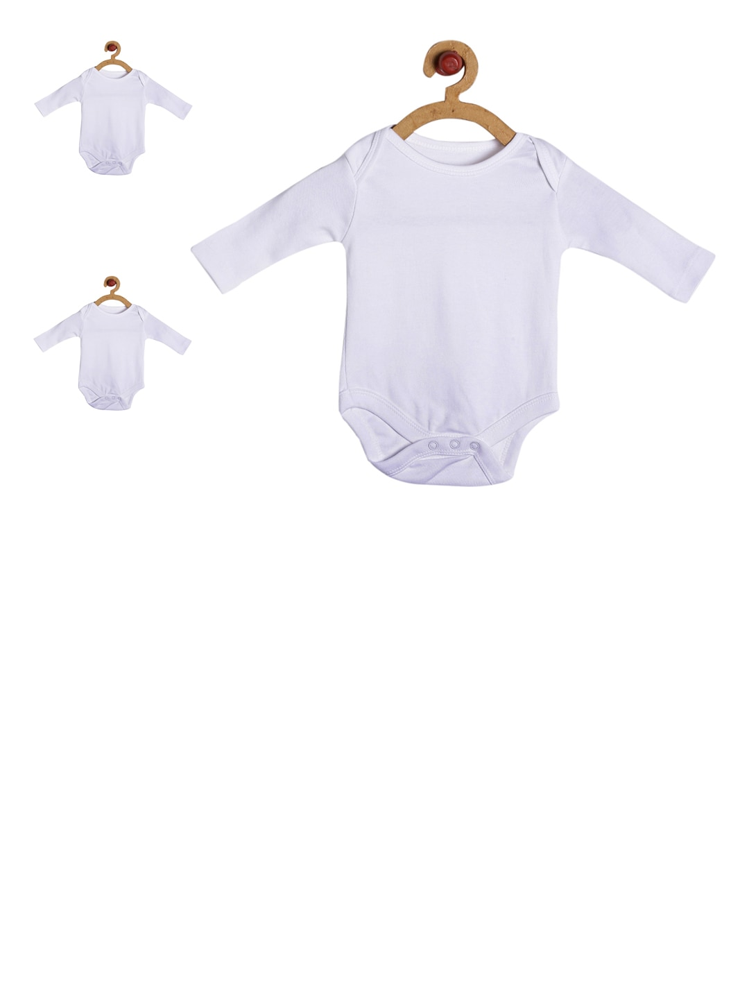 GKIDZ Infants Pack of 3 Off-white Cotton Bodysuits image