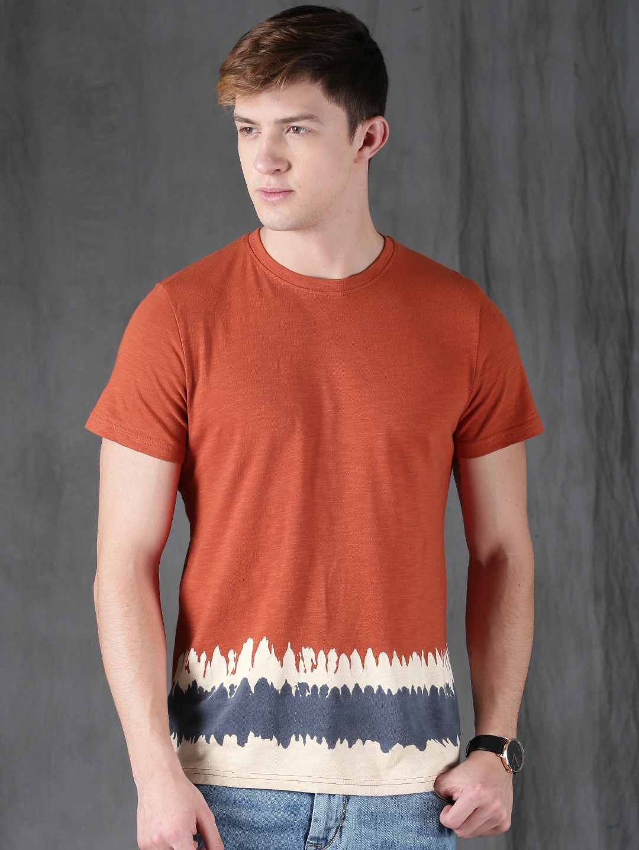 Buy WROGN Orange Solid Round Neck Men's T-shirt At Best Price