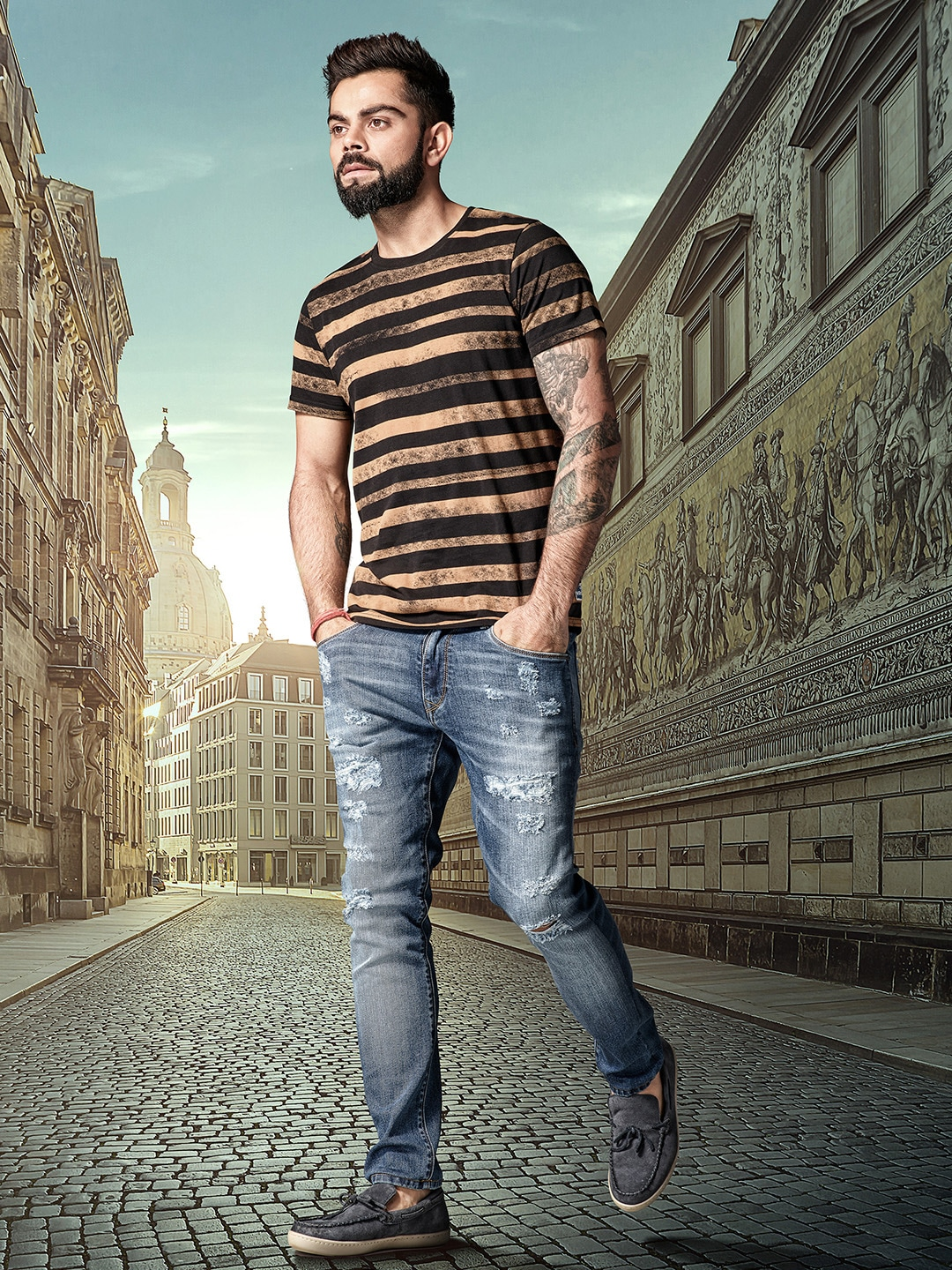 Buy WROGN Brown & Black Striped Round Neck Men's T-shirt At Best Price