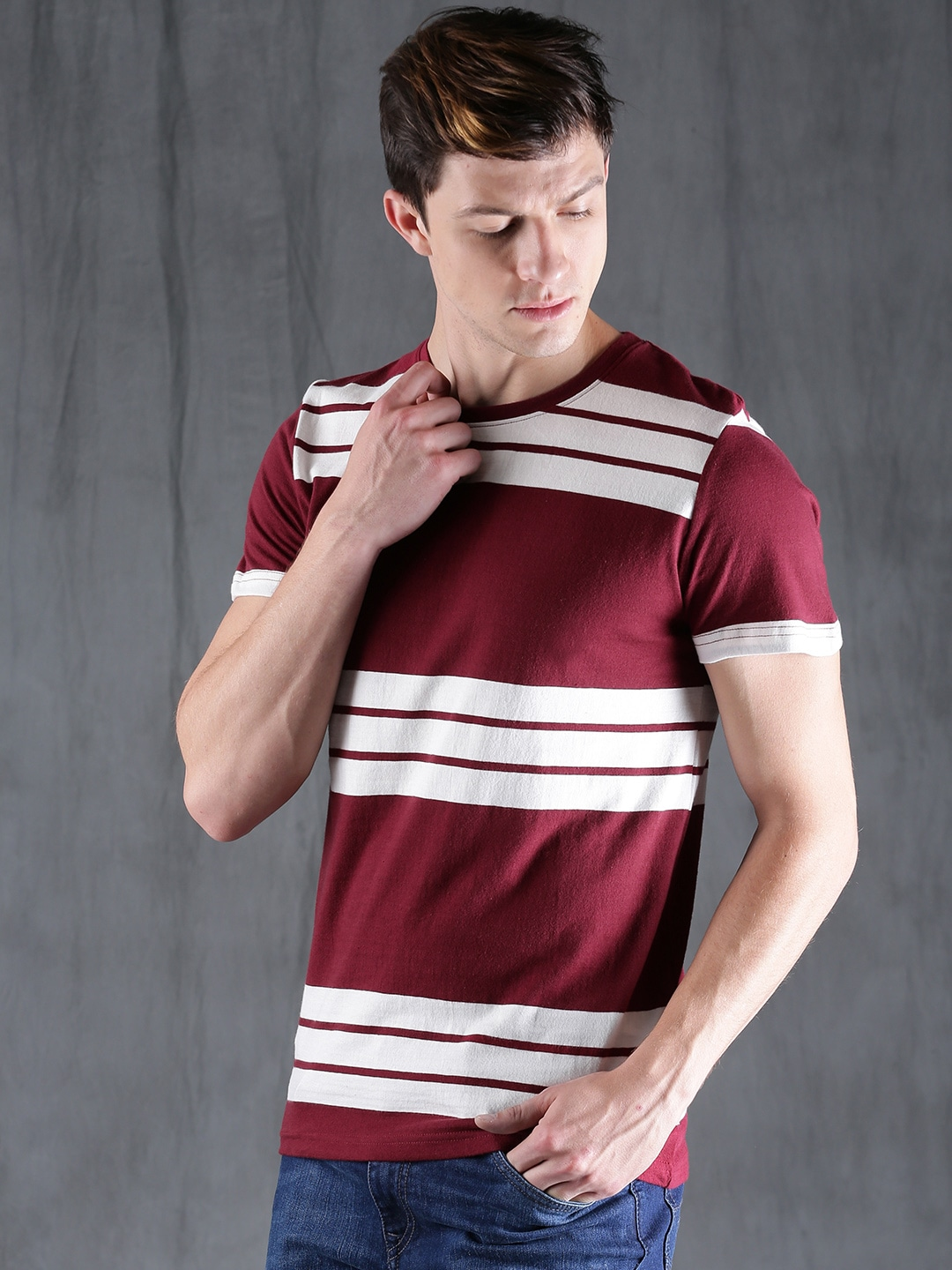 Buy WROGN Maroon & White Striped Men's T-shirt At Best Price